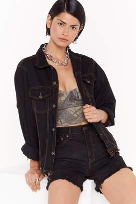 Nasty Gal Vintage Stitch It to Me Oversized Denim Jacket
