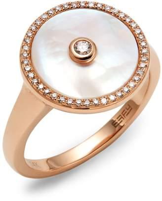 Effy 14K Rose Gold, Diamond & Mother Of Pearl Ring