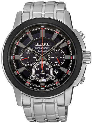Seiko Mens Silver-Tone Strap Black Dial Solar Chronograph Watch SSC389