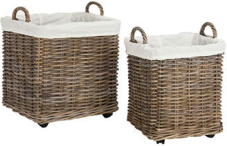 Safavieh Amari Rattan Square Set Of 2 Baskets With Wheels