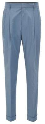 BOSS Hugo Pleated Cotton Dress Pant, Relaxed Fit Orville 30R Open Grey