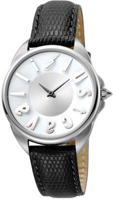 Just Cavalli 34mm Logo Stainless Steel Watch w/ Leather Strap, Black