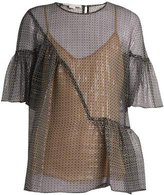 Stella McCartney Star-print silk-blend top