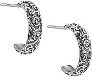 American West Sterling Diamond Cut Scroll HoopEarrings