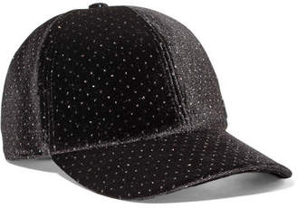 Maison Michel Tiger Bow Crystal-embellished Velvet Cap - Black