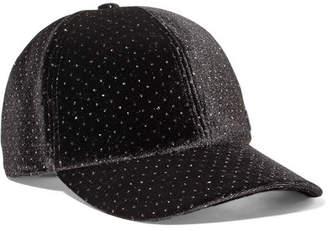 Maison Michel Tiger Bow Crystal-embellished Velvet Cap - Black