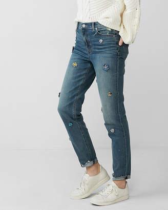 Express High Waisted Gem Stretch Girlfriend Jeans