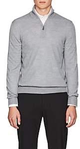 Barneys New York Men's Virgin Wool Half-Zip Sweater - Gray