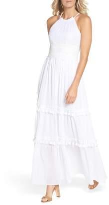 Eliza J Halter Neck Cotton Maxi Dress