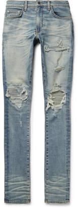 Amiri MX1 Skinny-Fit Leather-Panelled Distressed Stretch-Denim Jeans