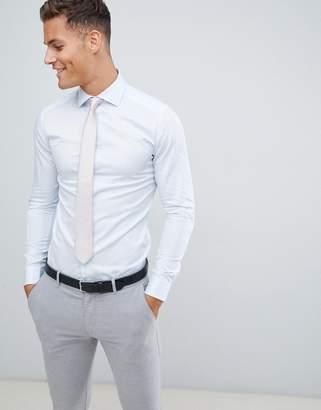 Reiss wedding slim fit smart shirt in blue