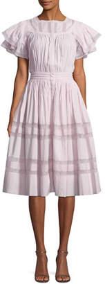 LoveShackFancy Callie Short-Sleeve Pintucked Ruffle Dress