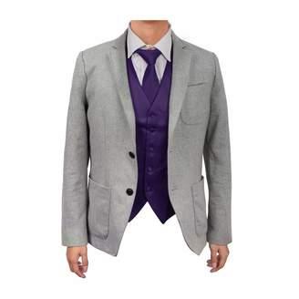 DAY Birger et Mikkelsen Dan Smith DGDE0002-M Dark Violet Gentlemen Plain Microfiber Satin For Designer Vest Matching Neck Tie