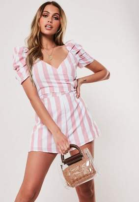 Missguided Red Washed Stripe Wrap Button Romper