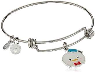 Disney Stainless Steel Adjustable with Silver Plated Tsum Tsum Donald Duck Enamel Charm Bangle Bracelet