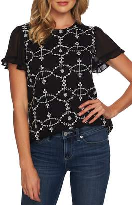 CeCe Embroidered Ruffle Sleeve Top