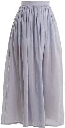 Thierry Colson Sissi striped cotton and silk-blend skirt