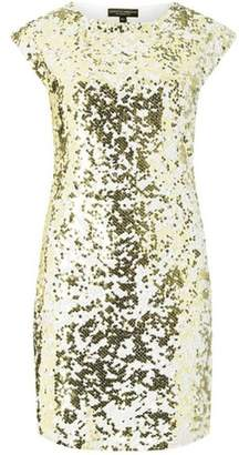 Dorothy Perkins Womens White and Gold Sequin Embellished Shift Dress