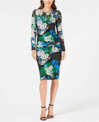 INC International Concepts I.N.C. Printed Ruched Midi Dress, Created for Macy's