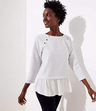 LOFT Petite Mixed Media Shoulder Button Sweatshirt