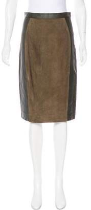 Raoul Suede-Paneled Leather Skirt w/ Tags