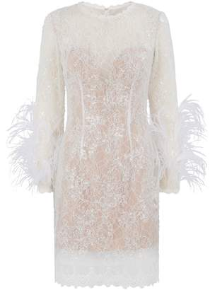 Jovani Embellished-Lace Feather Mini Dress
