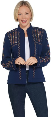 Dennis Basso Embroidered Luxe Crepe Cropped Jacket