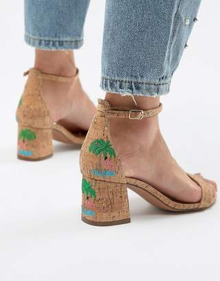 Glamorous Natural Flamingo Embroidered Kitten heel Sandals
