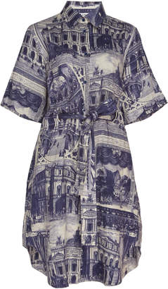 Acne Studios Della Printed Knee-Length Linen Dress