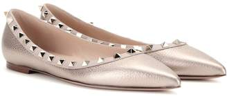 Valentino Rockstud metallic leather ballerinas