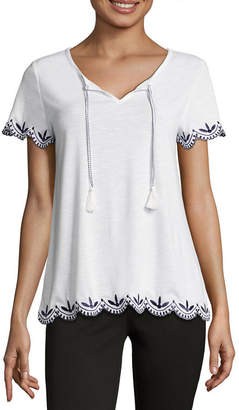 Liz Claiborne Short Sleeve Scalloped Hem Embroidered T-Shirt-Womens