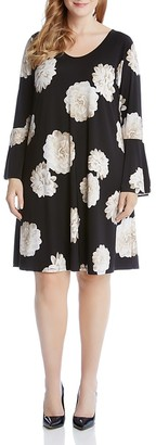 Karen Kane Plus Taylor Bell Sleeve Floral Print Dress $148 thestylecure.com