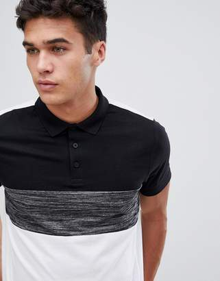 Asos DESIGN polo shirt with color block in interest fabric in white