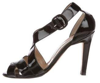 Manolo Blahnik Patent Leather Cutout Sandals
