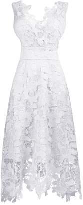 Roland Mouret KIMILILY KMILILY Women's Elegant V neck Sleeveless Floral Lace Cocktail dress (2XL)