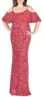 Mac Duggal Cold-Shoulder Sequin Column Gown, Plus Size