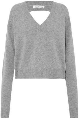 McQ Cutout Mélange Wool And Cashmere-Blend Sweater