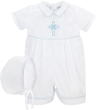 Carriage Boutique Embroidered Christening Romper & Bonnet Set