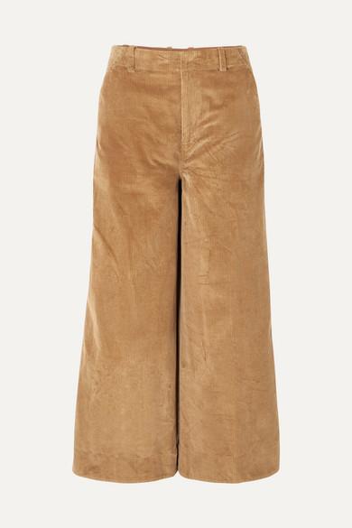 Elizabeth and James - Oakley Cropped Cotton-corduroy Wide-leg Pants - Camel
