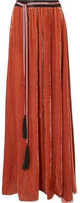 Ann Demeulemeester Grosgrain-trimmed Velvet Maxi Skirt - Red
