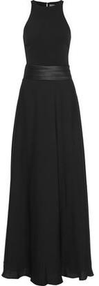 Halston Cutout Satin-Paneled Cady Gown