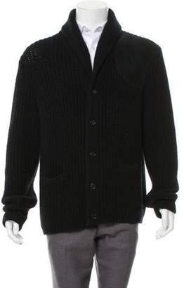 Ralph Lauren Purple Label Suede-Trimmed Wool & Cashmere-Blend Cardigan