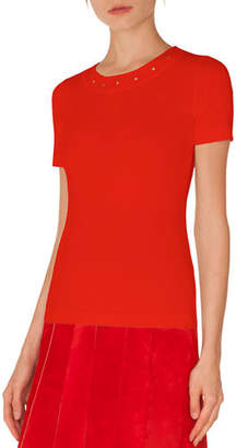 Akris Punto Round-Neck Short-Sleeve Tee w/ Eyelet Detail