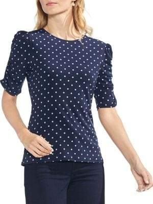 Vince Camuto Sapphire Bloom Ruched Roman Blouse