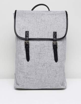 Asos Backpack In Gray Textured Fabric With Double Strap
