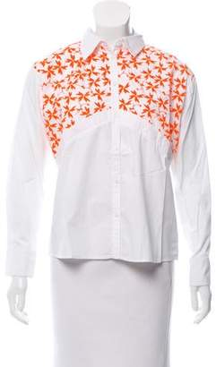 Tanya Taylor Embroidered Long Sleeve Blouse