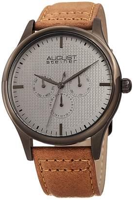 August Steiner Men's Multifunction Embossed Checkered Dial Watch, 44mm