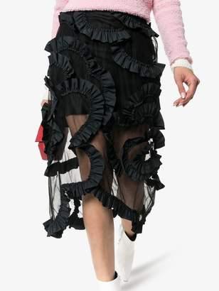 Simone Rocha Moncler Genius x high-waisted ruffle-detail midi skirt