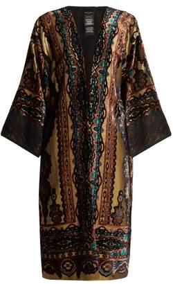 Etro Paisley Print Devore Velvet Jacket - Womens - Gold