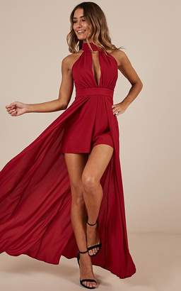 Showpo Don't Rain On My Parade Playsuit In Wine Maxi Dresses